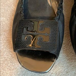 Tory Burch Shoes - Tory Burch metal logo buckle open toe ballet flats